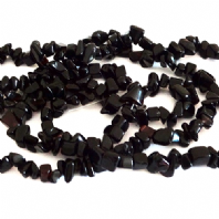 36 Inch Black Obsidian 6-12mm Chip Beads